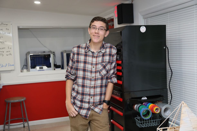 Student Quinn Trafas in STEM Lab