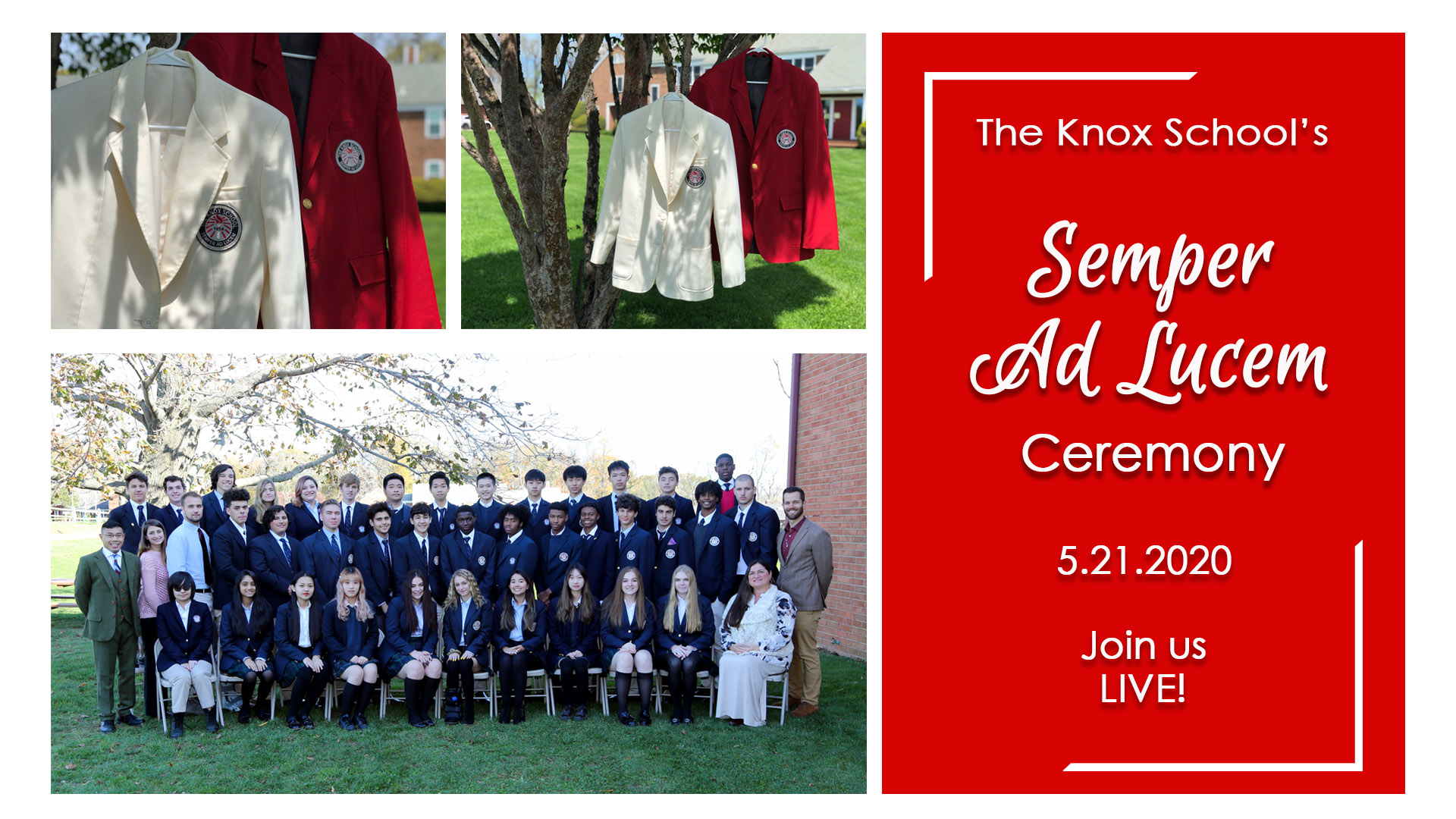 Image collage with Semper Ad Lucem Ceremony listed